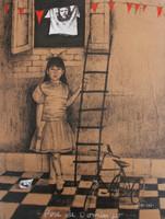 """Copperi (Luis Alberto Perez Copperi) #4991 (SL) """"Pose de Domingo,"""" N.D. Printers ink on kraft paper. 19 x 14.25 inches."""