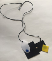 Mondrian-style rectangular plastic art on a necklace #423K. From the Conga design shop, Havana.