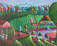 """Magnolia [Magnolia Betancourt] #6828 """"Los pescadores,"""" 2018. Acrylic on canvas. 15.5"""" x 19.5"""""""