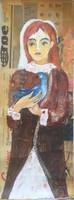 "Sandra Dooley #6832. ""Paloma,"" 2017. Acrylic, collage on canvas.                31"" x 11.5"""