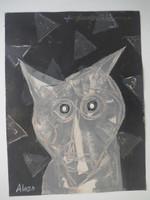 "Alazo - Alejandro Lazo #5936. ""Perro manso,"" N.D. Acrylic on paper. 12.5 x 9.5 inches."