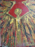 "Alazo - Alejandro Lazo #6091. ""Aparecido en el guayabal,"" 2012. Oil on canvas. 16 x 12 inches"