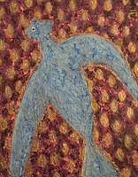 """Alazo - Alejandro Lazo #6030. """"Pajarito,"""" ND. Acrylic on canvas. 11"""" x 14."""""""