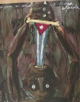 """Alazo - Alejandro Lazo #6029. """"Para mi cielo,"""" 2012. Acrylic on canvas board. 20 x 16 inches."""
