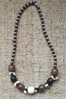 Wood bead necklace #517A.