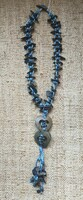 Turquoise coconut shell and bead necklace  #517B.