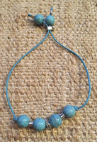 Osvaldo Castilla #417A. Turquoise and silver  Bracelet with adjustable strap