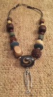 Osvaldo Castilla #417C. Mixed beads and silver charm necklace with silver clasp