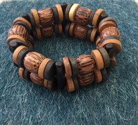 Coconut/mixed wood bead bracelet #316F