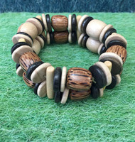 Coconut/mixed wood bead bracelet #316H