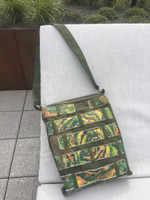 "Adrian Rumbaut #424B. Hand painted canvas and faux leather bag. Dimensions 14.5"" x 11.5"" 2"" gusset. 33"" from top of strap to bottom of bag, adjustable strap."