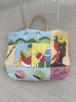 "Canvas hand painted double sided tote bag #424C. Bag dimensions 14"" x 20"" x 1"" gusset.  20"" from top  of strap to bottom of bag."