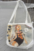"Canvas bag by Sandra Dooley #424D. Hand painted double sided tote bag. Dimensions 11"" x 14"" x 4"" gusset. 24"" from top of strap to bottom of bag."