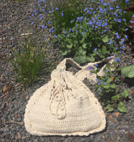 "Crochet bag #052D. Dimensions 9"" x 9"" X 2"" gusset. 23"" from top of strap to bottom of bag, strap is not adjustable."