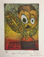 """Hane #523G. """"Marti escritor,"""" 2015. Collagraph print from down syndrome art project in Pinar del Rio, Cuba. 11 x 8.5 inches."""