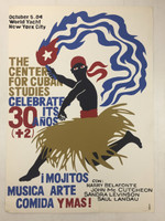 "Goire (Suitberto Goire Castilla)""The Center for Cuban Studies celebrates 30 years,"" 2004. Silkscreen, 27.5 x 19.5 inches."