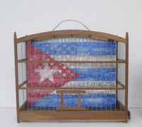 "Adrian Rumbaut, ""Simbolo oculto,"" 2015. Mixed media: canvas, bird cage. 15"" x 12"" x 6"""