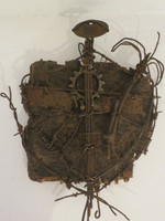 "Adriel Hernandez, Untitled, N.D. Mixed media, coat of arms. 13.5"" 11.75"""