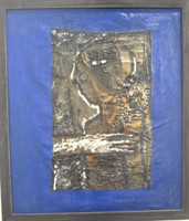 "SOLD!  Choco [Eduardo Roca], ""Mis casitas,"" N.D. Mixed media: oil on canvas with collage. 28.75"" x 23.5"""