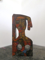 "Choco (Eduardo Roca Salazar) ""Descanso,"" 2015. Mixed media: wood sculpture and collagraphy, 3'11"" x 22.5"" x 7"" SOLD!"