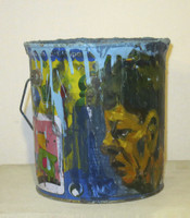 "Yuri Santana, Untitled, N.D. Acrylic on paint can. 7.75"" x 7.5"""