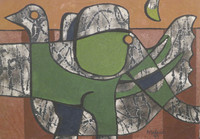 "Jose Mederos Sigler (Mederox) #1982. ""Elefante y pato,"" 1999. Oil on canvas. 20"" x 29."""