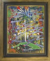 "Humberto Ramos Hernandez (D) ""Cronica historica de Cuba,"" 2009. Acrylic on canvas. 23.5"" x 17 3/4."