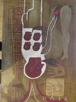 """Elsa Mora #3588. """"Antes y despues,"""" 2002. mixed media/acrylic on canvas. 36"""" X 24."""""""