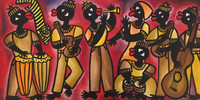 "Ileana Sanchez Hing #2613. ""El septeto,"" 2002. Acrylic on canvas. 16"" x 31.5."""