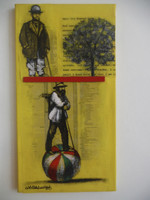 "Camilo Villalvilla   #5944. Untitled, N.D. Mixed media/ Acrylic on canvas. 14"" x 7.5."""