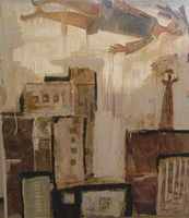 "Sandra Dooley  #4227a. ""S y la ciudad,""  2007. Mixed media/ oil on canvas. 43"" x 37."""