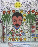 """Lawrence Zuniga Batista #5692. """"Marti el apostol de Cuba,"""" 2012. Acrylic on paper. 18.5"""" x 15.5."""""""