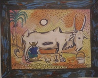 """Osvaldo Castillo  #5739. """"La lechera,"""" 2005. Ink and water color on paper.16.5  x 13.5 Inches."""