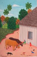 """Roberto Torres Lameda #5714. """"la yunta,"""" 2011. Oil on canvas/ 9.5"""" x 6.5."""""""