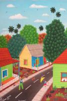 """Roberto Torres Lameda #5716. """"El escobero,"""" 2011. Oil on canvas. 13.5"""" x 9.5."""