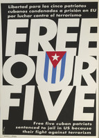 "Avilio. Free our five,"" 2004. Silks creen print. 27.5 x 19 inches."