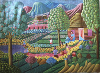 "Magnolia Betancourt #6191. ""Primavera,"" 2015. Acrylic on canvas. 23 x 31 inches."