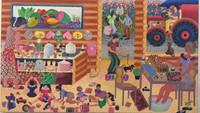 "Yanet Porra Garcia #6212. ""Trabajando en el hogar,"" 2014. Oil on canvas, 19 x 32 Inches."
