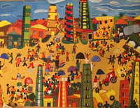 "Llopiz (Angel Llopiz Martinez) #5463. ""Festival del Caribe,"" 2010. Oil on canvas. 24""x 32 inches."