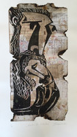 "Guillermo Estrada Viera #6225 ""Sueno de libertad,"" N.D. Mixed media collage, artist proof.  21 x 12 inches."