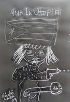 """SOLD! Nicolas Lara #4267  """"Viva la utopia,"""" 2009. Chalk on paper."""