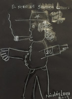 "Nicolas Lara #4261. ""El novio de Sandra,"" 2009. Chalk on paper. SOLD!"