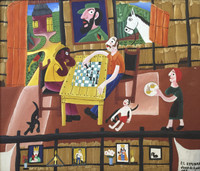 "Luis Rodriguez (El Estudiante) #6216 (SL) NFS. ""Juego de ajedores,"" 1996. oil on canvas. 14.75 x 17 inches."