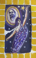"Jaqueline Brito #6468 ""Serie: Retratos,"" 2016. Mixed media. 8.5 x 5.5 inches."