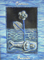 "Jacqueline Brito #6533 ""Ikebana"" 2007. Mixed media/ Ceramic and oil on canvas. 9.25 x 6.5 inches"