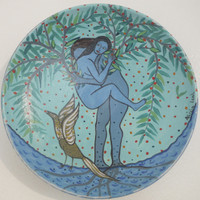 SOLD! Alicia Leal #5714  Untitled, N.D. Ceramic plate. 7.5 inches diameter.