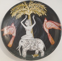 SOLD! Alicia Leal #5713  Untitled, N.D. Ceramic plate. 6 inches