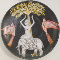 Alicia Leal #5713  Untitled, N.D. Ceramic plate. 6 inches. SOLD!