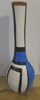 SOLD!  Azariel Santander #6519 Ceramic vase from Trinidad de Cuba.15 x 5 inches.