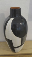 SOLD!  Azariel Santander #6520 Ceramic vase from Trinidad de Cuba. 9 x 5 inches.